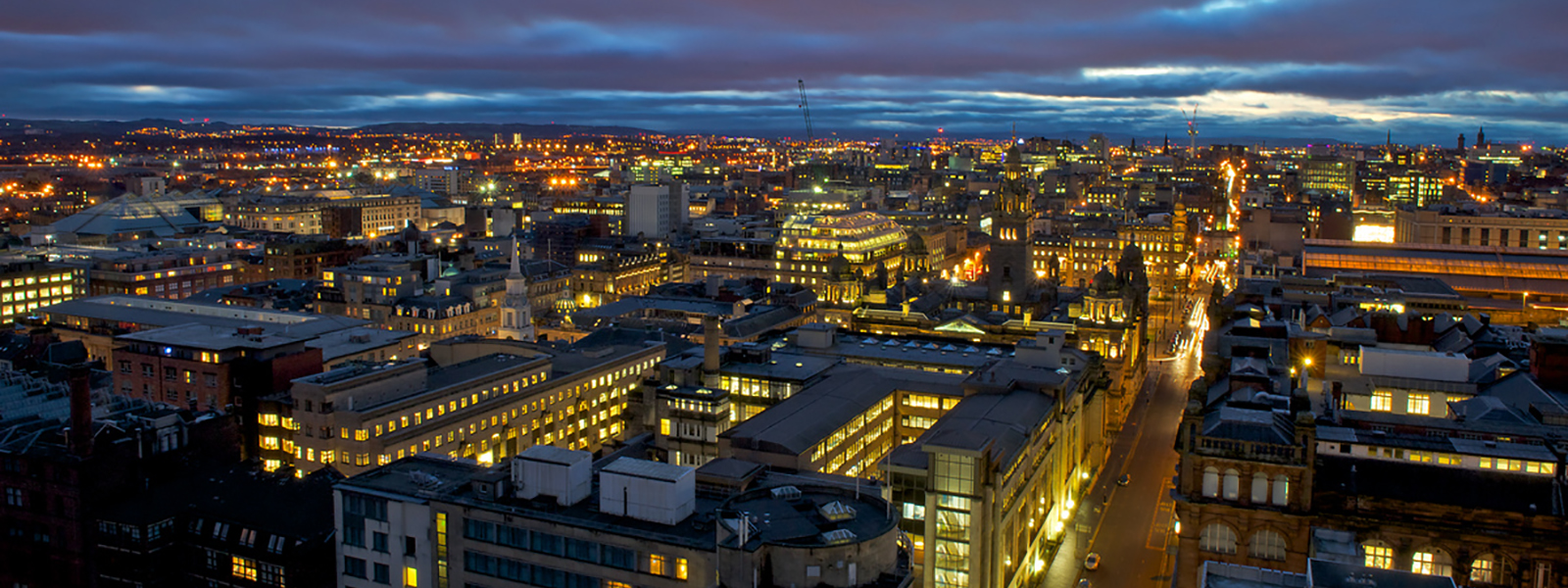 Glasgow city centre at dusk. View from the Livingstone Tower