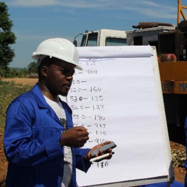 Steve Kumweda, MSc Hydrogeology student at an onsite professional borehole drilling standards course
