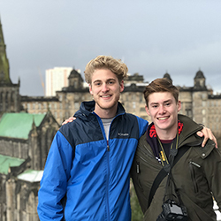 Hunter Bennett, exchange student from Arizona State University, and friend pictured with Glasgow Cathedral in background