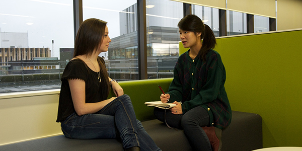 Two female students in Strathclyde University Language Centre