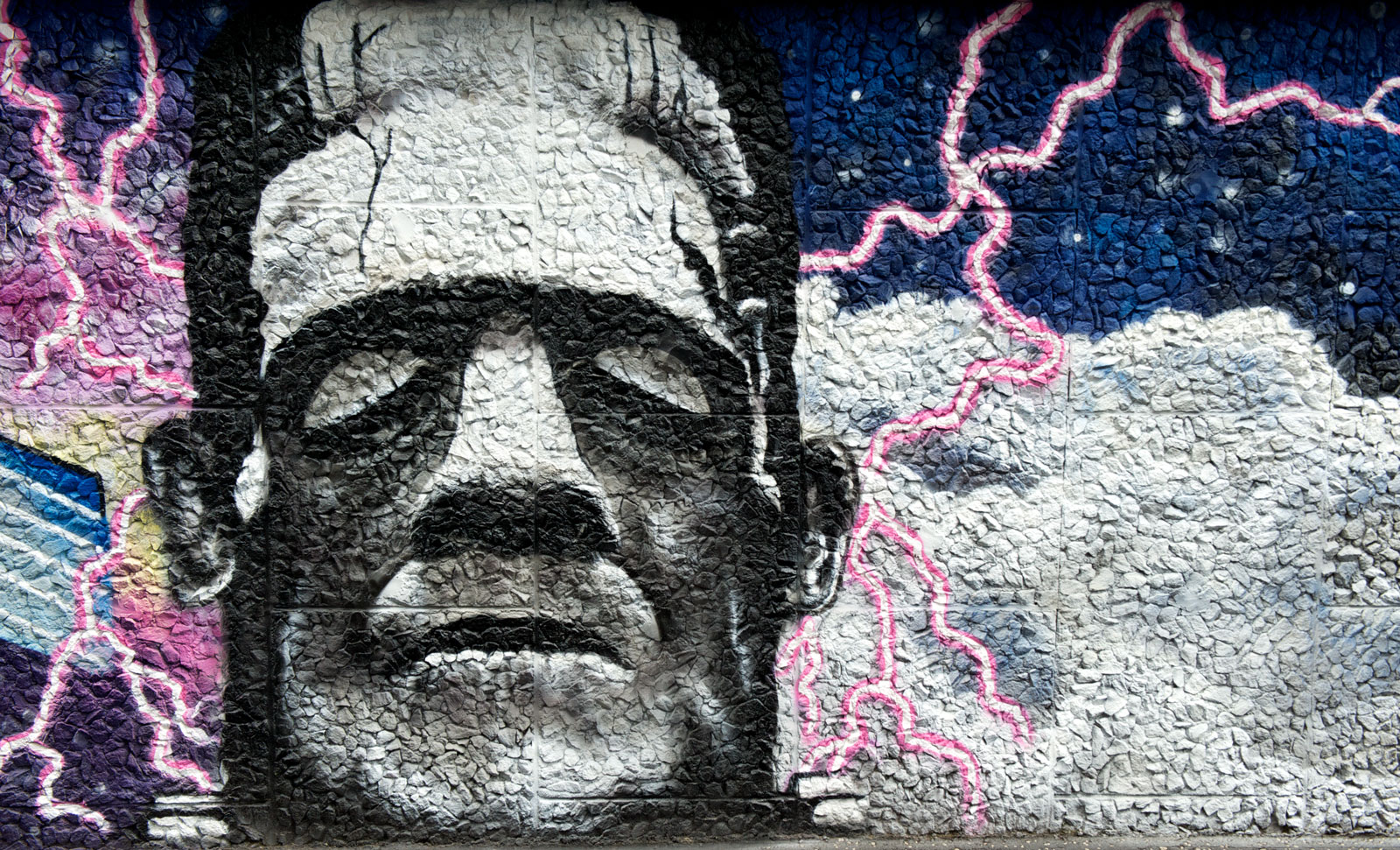 painting of frankenstein on graham hills building