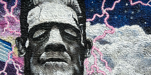 a painting of frankenstein on the strathclyde wonderwall