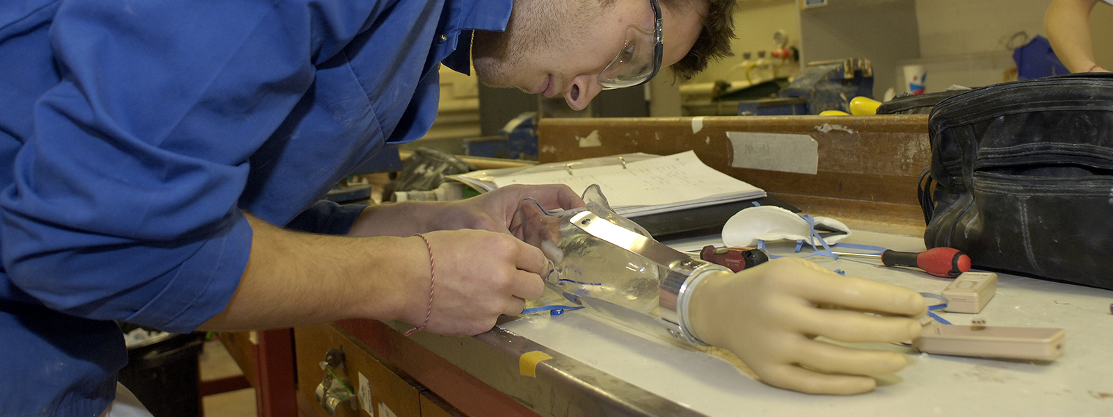 Student working in the national centre for prosthetics & orthotics
