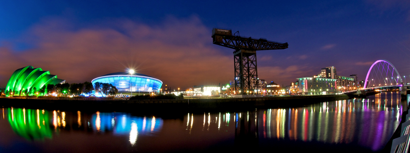 Glasgow at night, with hydro and Finnieston Crane.