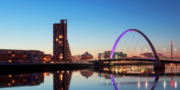 Glasgow River Clyde and Clyde Arc bridge