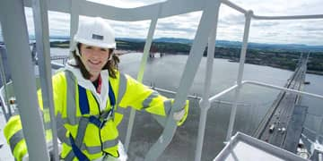 Civil Engineering student Sara Peat at the Forth Road Bridge, North Tower.