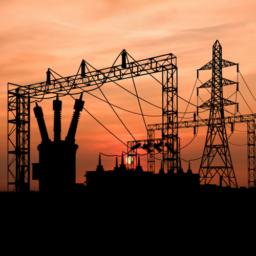 Pylons at sunset