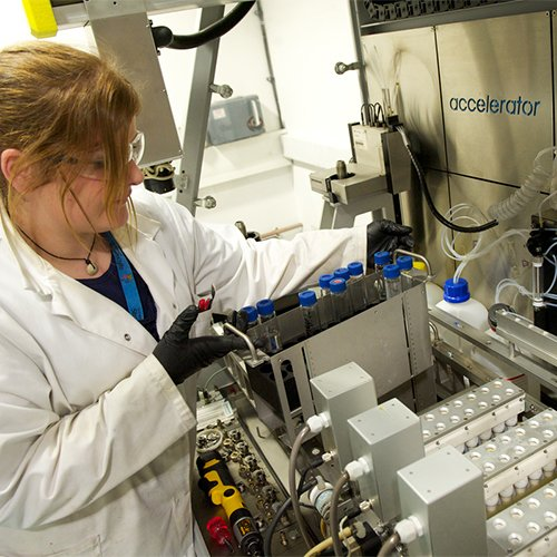 Researcher working in the Centre for Continuous Manufacturing and Crystallisation
