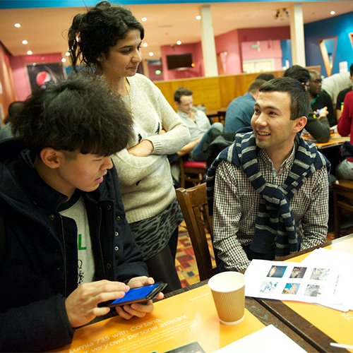 Students in language cafe