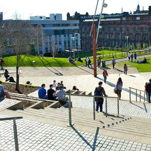 Students on the University of Strathclyde campus