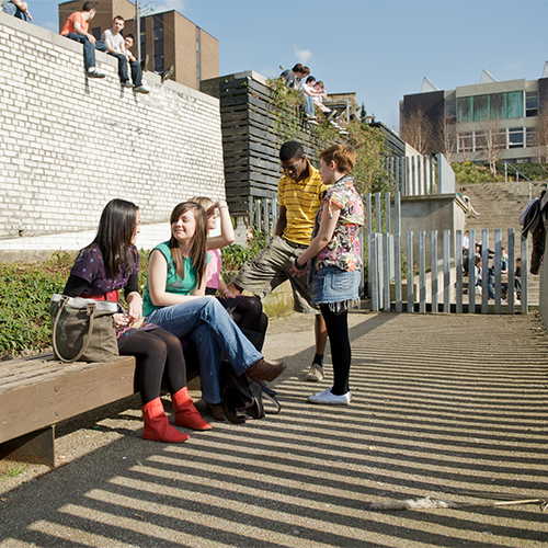 Students on campus in Rottenrow Gardens