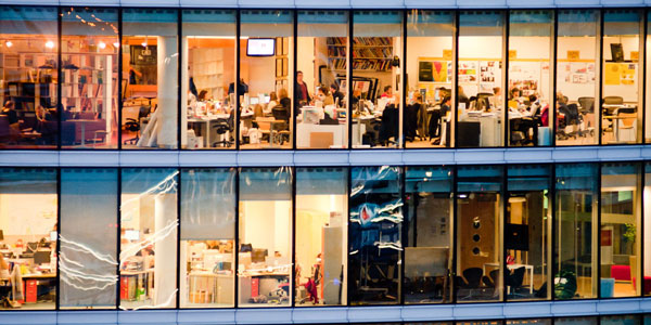 People working in an office in a city