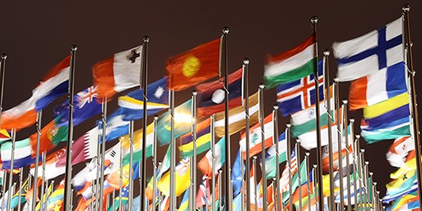 International flags flying from poles