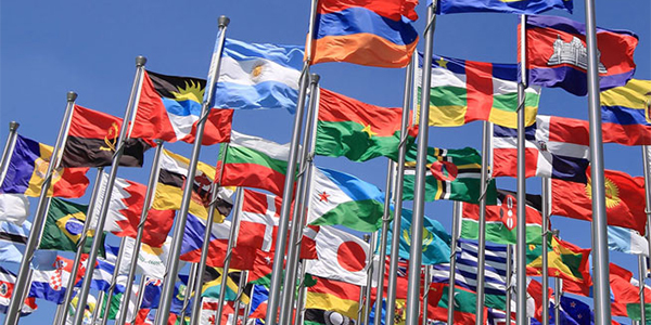 A selection of international flags