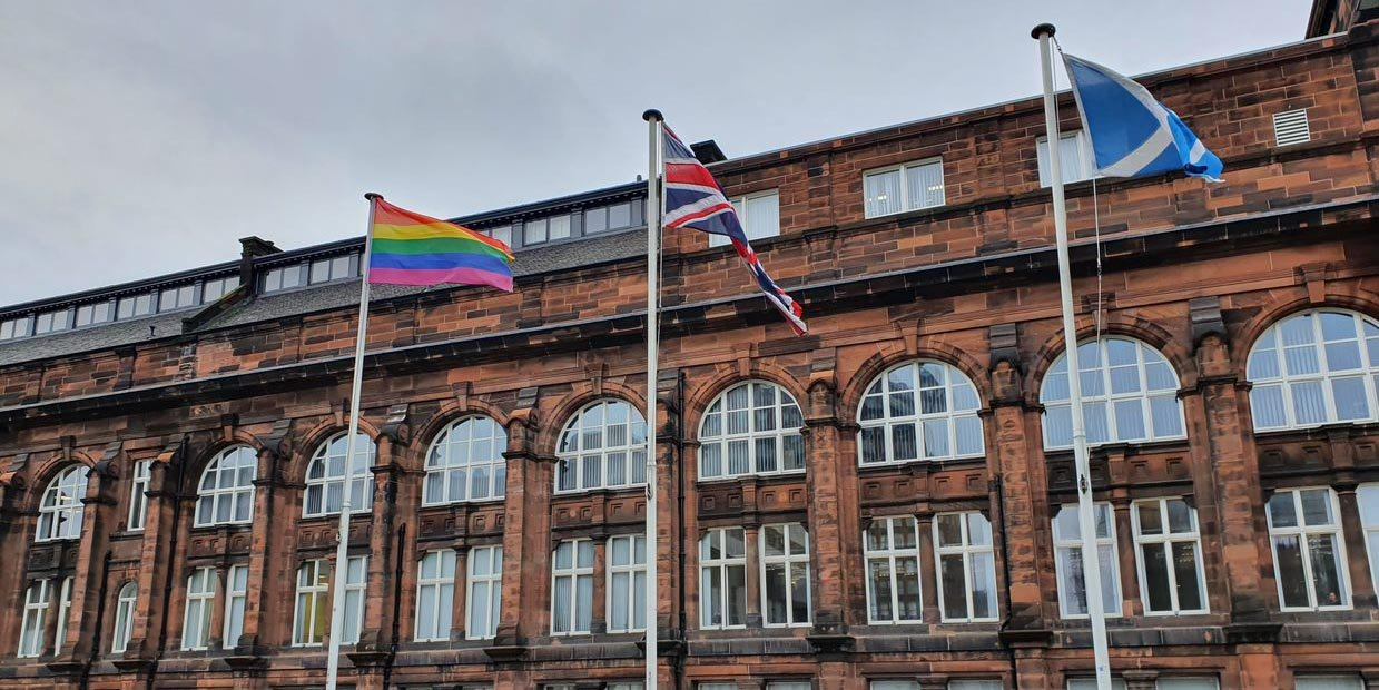 LGBT flag outside Royal College building