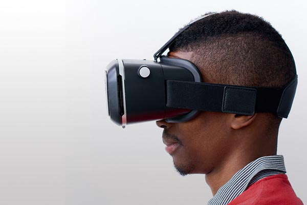 Person wearing VR headset