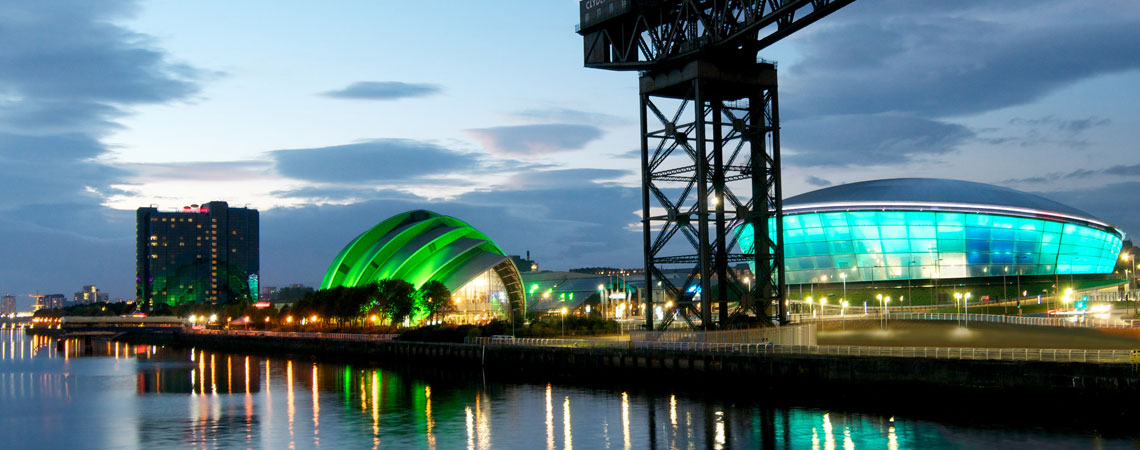 Glasgow City Scene with the Clyde auditorium and the hydro