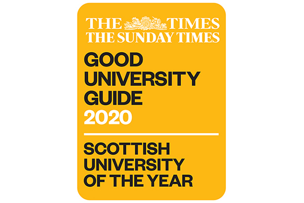 Sunday Times, Scottish University of the Year 2020 logo.