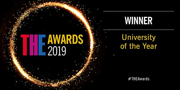 Times Higher Education awards 2019 logo - University of the Year winner.