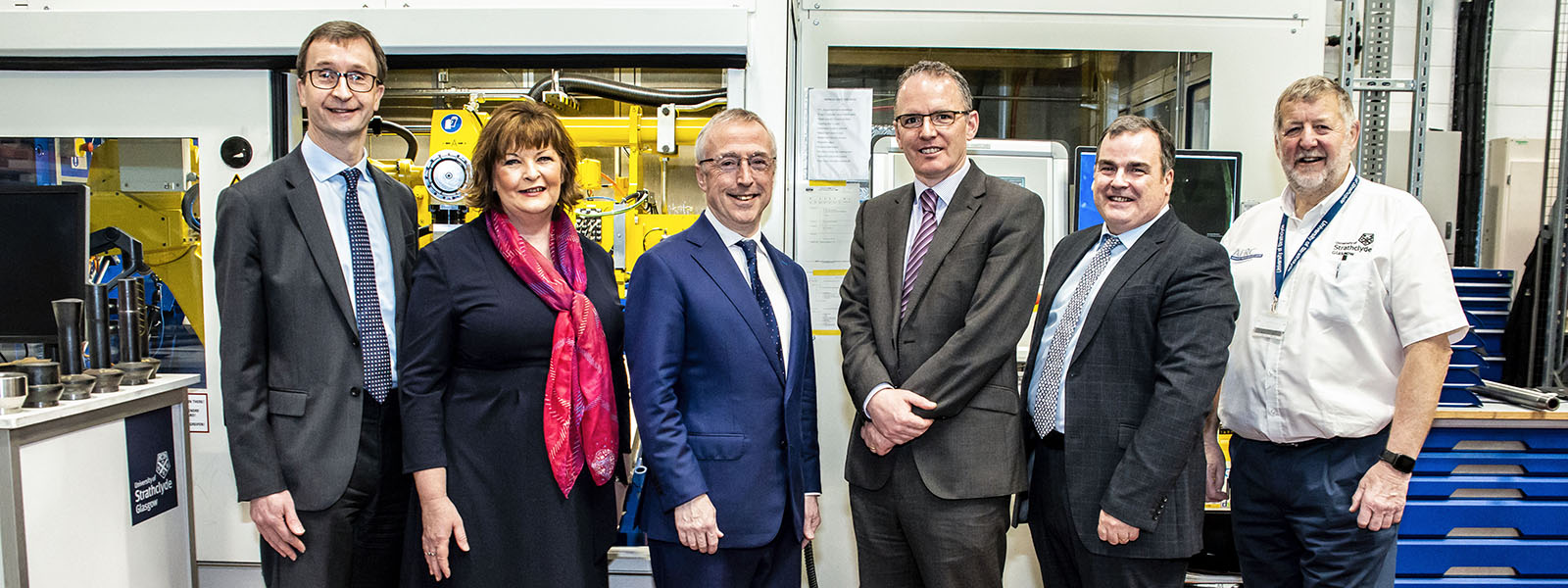 David Smith, National Opportunities Director at Scottish Enterprise, Fiona Hyslop, Economy Secretary, Sir Martin Donnelly, President of Boeing Europe, Adrian Gillespie,Chief Commercial Officer at Strathclyde, Iain Nicolson, Leader of Renfrewshire Council, Keith Ridgway, Executive Chair of Advanced Forming Research Centre
