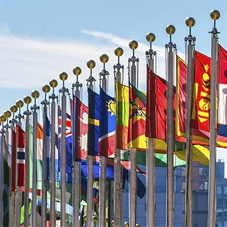 Flags at UN Headquarters