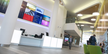 This photo shows the reception area of the Technology and Innovation Centre