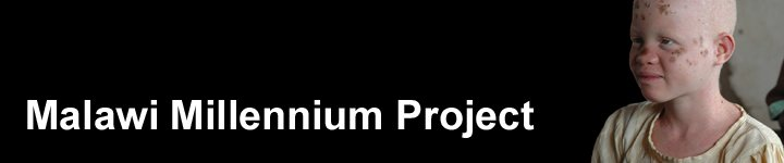 Malawi Millennium Project banner. Shows a picture of a young girl with albinism against a black background.