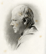 Sketch of bust of Walter Scott. From David Douglas (ed.), Familiar Letters of Sir Walter Scott, Volume 1. (Edinburgh 1894)