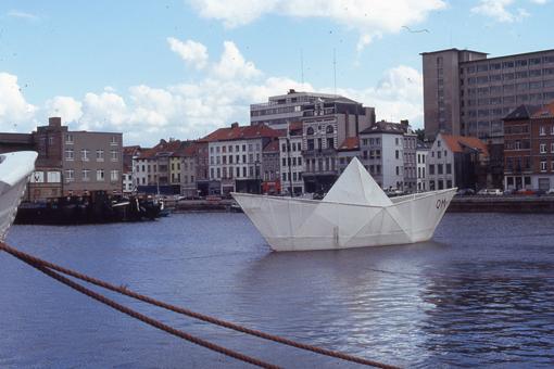 Paper boat sculpture