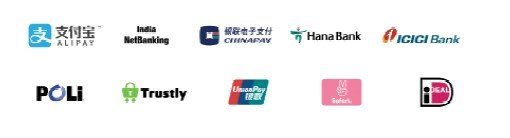 Montage of logos: WeChat Pay, ICICI Bank, Trustly, POLi, Hana Bank, ALIPAY, GEOSwift, iDEAL, SOFORT, Union Pay