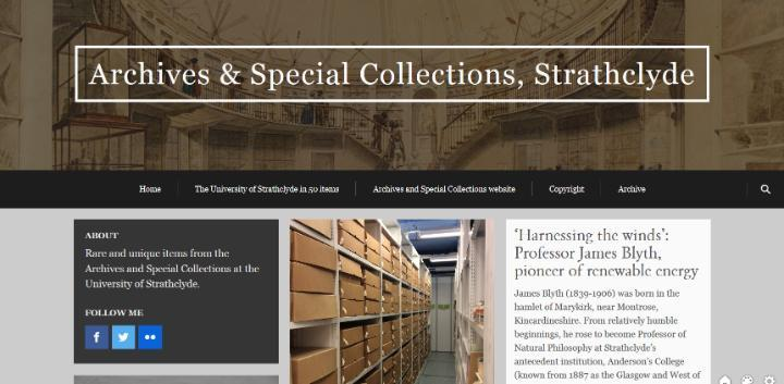 Screenshot of Archives and Special Collections blog