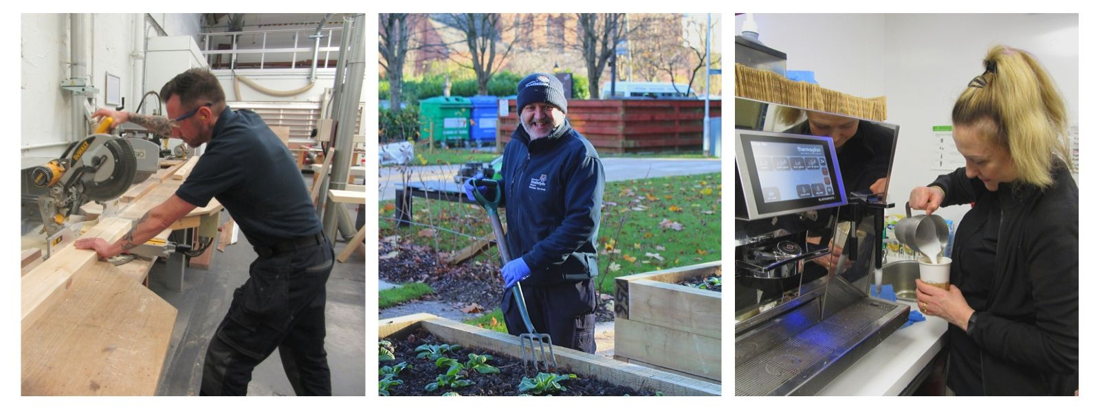 Estates staff at work: joiner, gardener and food and beverage assistant
