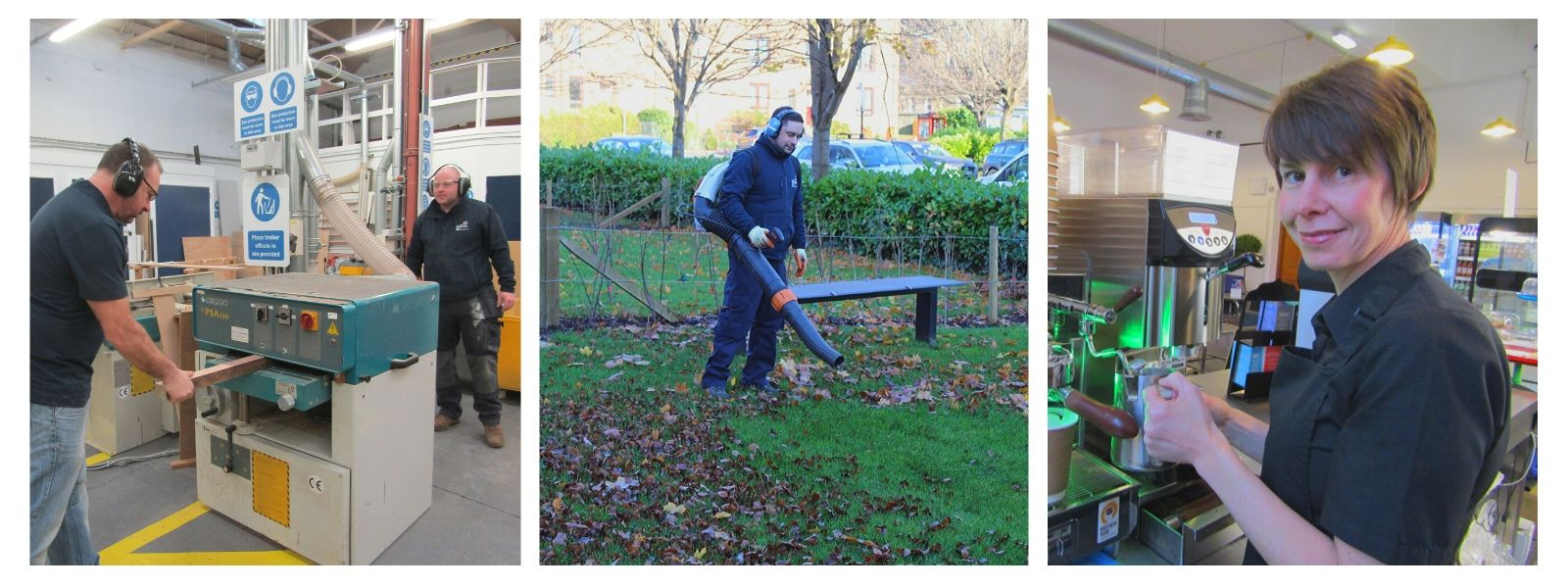 Estates staff at work: joiners, gardener, food and beverage assistant