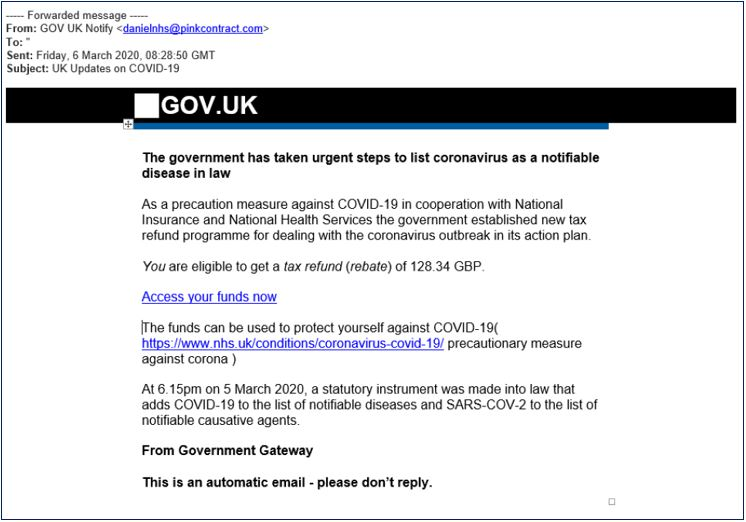 A phishing email which claims to be from HMRC. The email instructs the user to claim a tex rebate but it's a scam.